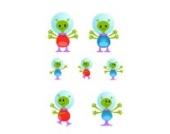 Alien Familie Wandtattoo von Stickerscape - Wandaufkleber (Reguläres Größe)