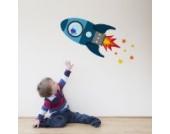 Fliegende Rakete Wandtattoo von Stickerscape - Wandaufkleber (Blau, Reguläres Größe)