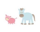 Pferd und Schwein Wandtattoo von Stickerscape - Wandaufkleber - Tiere auf dem Bauernhof (Reguläres Größe)