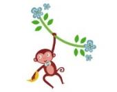 Dschungel Affen Rebe (Einzige) Wandtattoo von Stickerscape - Wandaufkleber (Reguläres Größe)