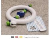 Baby Greifling Rassel Beißring | Holz Lernspielzeug als Geschenk zur Geburt & Taufe | Jungen Motiv Eule in dunkelblau