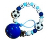 Baby Schnullerkette mit Name - Schnullerhalter mit Wunschnamen - Fußball - blau - Boy / Jungs
