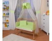 WALDIN Baby Beistellbett komplett mit Ausstattung, höhen-verstellbar, Buche Massiv-Holz natur unbehandelt,16 Modelle wählbar,grün/weiß