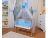 WALDIN Baby Beistellbett komplett mit Ausstattung, höhen-verstellbar, Buche Massiv-Holz natur unbehandelt,16 Modelle wählbar,blau/weiß