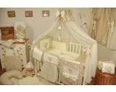Lux4Kids Kinderbettausstattung Bett Set 135x100 Nestchen Wickelauflage Himmel & Stange Mobile Kopfkissen Spannbettlacken 21 Wolke Ecru Braun