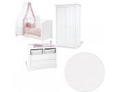Komplett Kinderzimmer NINA, 3-tlg. (Kinderbett, breite Wickelkommode und 2-türiger Kleiderschrank), massiv/Weiß lasiert Gr. 70 x 140