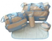 DAS ORIGINAL BOMIO® 5teiliges Baby Wickeltaschen-Set mit viel Stauraum Hellblau