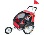 Homcom 5664-0086rb 2 in 1 Jogger Kinderanhänger Fahrradanhänger Kinder Radanhänger 5 Farben zur Auswahl, rot/schwarz