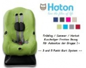 HATON -- FROTTEE Ersatzbezug -- Frühling / Sommer / Herbst -- 3 UND 5 Punkt Gurt System -- Universal Ersatz-Bezug für Autokindersitz Größe 1 z.B. für Maxi-Cosi Priori / SPS / XP, Römer King Plus / TS / Duo etc. -- LIMETTE --