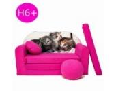 H6+ Kindersofa Ausklappbar Schlafsofa Couch Sofa Minicouch 3 in 1 Baby Set + Kindersessel und Sitzkissen + Matratze