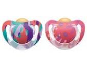 NUK 10172083 Schnuller Genius Color Latex, Zahnschonend, Kiefergerechte Form, BPA frei, 6-18 Monate, Größe 2, violett/altrosa
