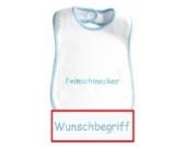Baby-Lätzchen mit Wunschbegriff in hellblau eingestickt, Lätzchen weiß/blau, hochwertige Stickerei; Mitteilung des Wunsch-Namen siehe Produktbeschreibung