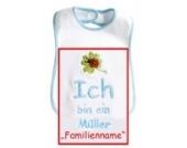 Baby-Lätzchen mit Stickerei Ich bin ein … Familienname / Wunsch-Nachname, Einfassung u. Schrift blau, hochwertige Stickerei; Mitteilung des Wunschnamen siehe Produktbeschreibung