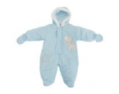 Baby Schneeanzug mit Kapuze, Giraffe Growing By The Minute (3-6 Monate (62)) (Blau)