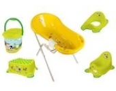 7er Set Funny Farm grasgrün Badewanne XXL 100 cm + Badewannenständer + Topf + WC Aufsatz + Hocker + Windeleimer + Waschhandschuh
