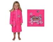 Bademantel mit Namen Bär im Strohhut Pink Größe 98/104