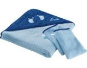 Kinderbutt Frottierset 3-tlg. inkl. Bestickung - mit Namen - personalisiert - Frottier Kapuzenbadetuch - Waschlappen - hellblau Größe 80x80 cm + 15x21 cm - 100% Baumwolle