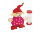 Inware 21697r - Zahnbürstenhalter Wichtel, rot/pink, aus Holz, mit Sanduhr