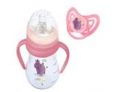 Trinklernflasche mit Griffen inkl. Sauger und Schnabel 250 ml + Schnuller Hippo rosa ab 6 Monate