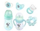 6er Set: 2 x Baby Flasche + 2 x Schnuller + 2 x Beißring Hippo blau