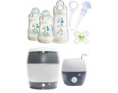 MAM Set - Startset - Babykostwärmer Sterilisier Flaschenset klein - Neutral + gratis Schmusetuch Löwe Leo