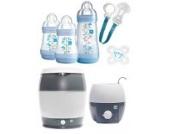 MAM Set - Startset - Babykostwärmer Sterilisier Flaschenset klein - BLAU + gratis Schmusetuch Löwe Leo