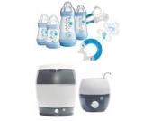 MAM Set - Startset - Babykostwärmer Sterilisier Flaschenset Premium groß - Blau - + gratis Schmusetuch Löwe Leo