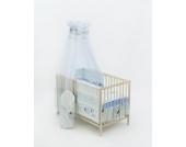 13-tlg. Baby-Bettwäsche-Set Decke 150x120 Bettzeug Bettbezug für Babybett 140x70 (Muster: Hund mit Knochen_puderblau)