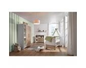 Komplett Kinderzimmer Eco Plus, 3 tlg., (Kinderbett, Wickelkommode und Kleiderschrank 2-trg.), weiß/Halifax Eiche Gr. 70 x 140