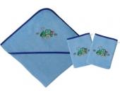 Set Kapuzenbadetuch mit 2 Waschlappen, Traktor, hellblau, 80 x 80 cm