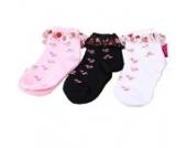 Luckystaryuan ® 3-er Set Cotton Mädchen schnüren sich Socken Kinder-Frühlings-Herbst Strawberry Sock Geschenk (7-10 years old)