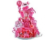 Windeltorte / Pamperstorte > Babygeschenk für Mädchen in schönem Rosa-Pinkton // Geschenk zur Geburt, Taufe, Babyparty // originelles und praktisches Geschenk für Babys