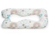 Kissenbezug für Schwangerschafts,- Seitenschläferkissen von castilba mit Öko-Tex Standart 100 (Baumwolle Blumen blau/beige)