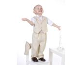 Nr. 10 Niedlicher SOMMER Taufanzug Smoking Anzug-Set 5-teilig BEIGE gestreift Gr��e 62-104