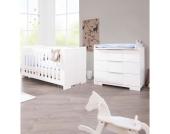 Sparset POLAR (Kinderbett & breite Wickelkommode), weiß edelmatt Gr. 70 x 140