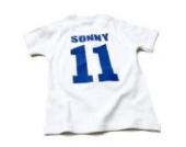 Nappy Head Individuelles Baby/Kinder-T-Shirt - Weiß mit kurzen Ärmeln (Fußballhemd),2-4 Jahre