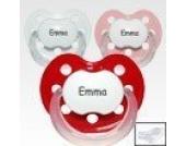 Anatomische Deluxe Namensschnuller weiß, rot, rosa Gr 2 Latex