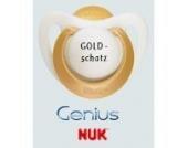 Nuk Genius Schnuller mit Namen 3 Stück - Latex - gold - Gr 2 - Jeder Schnuller eine andere Gravur!