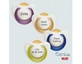 Nuk Genius Schnuller mit Namen 4 Stück - Latex -lila - Gr 2 - Jeder Schnuller eine andere Gravur!