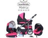 Chilly Kids Matrix II Kinderwagen Komplettset (Autositz & Adapter, Regenschutz, Moskitonetz, Schwenkräder) 31 Schwarz & Rosa