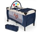 TecTake Kinder Reisebett höhenverstellbar mit Wickelauflage - diverse Farben - (Navy Blau | Nr. 400534)