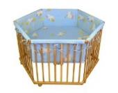 HONEY BEE Baby Laufgitter Laufstall 6 eckig + Einlage blau Ente, 3 fach höhenverstellbar
