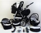 Clamaro 'VIP' 3in1 Premium Kombikinderwagen System, Kinderwagen Kombi mit Babywanne, Buggy und Auto Babyschale Gruppe 0+ (0-13 kg), Felge: ALU (Hartgummi Reifen), Design: 11. Schwarz/Blau