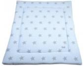 Laufgittereinlage Sterne gestrickt 100 x 85 cm, Baby Blau / Grau