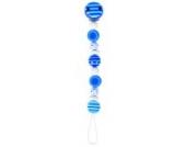 Heimess 732430 Schnullerkette Perlen gestreift und gepunktet in blau