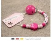 Baby SCHNULLERKETTE mit NAMEN | Schnullerhalter mit Wunschnamen - Mädchen & Jungen Motiv Eule in verschiendene Farben (pink)