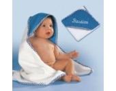 Baby Butt Kapuzenbadetuch Frottier weiß/blau Größe 100x100 cm