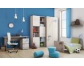 Babyzimmer Kinderzimmer ELEGANCE mit Boy-Grafiken Babymöbel Set komplett 4teilig Kleiderschrank 2-türig Babybett Wickelkommode Wandregal