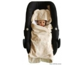 ByBoom®–Einschlagdecke kuschelig Universal für die Übergangszeit und Sommer für Babyschale, Autositz (z.B. für Maxi-Cosi, Römer), Kinderwagen, Buggy oder Babybett, Farbe: Beige–Bär