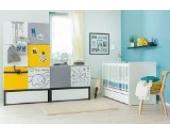 Babyzimmer Kinderzimmer BLACK&WHITE Babymöbel Set weiß 6 teilig komplett Kleiderschrank 2-türig Babybett Juniorbett mit Schublade Wickelkommode Wandregal